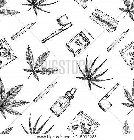 Hand drawn vector seamless pattern - Medical cannabis and some accessories. Design elements in sketch style ( joint tobacco pipe matches hemp oil indica marijuana)