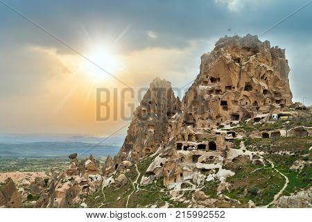 Uchisar Castle In Cappadocia, Nevsehir, Turkey.