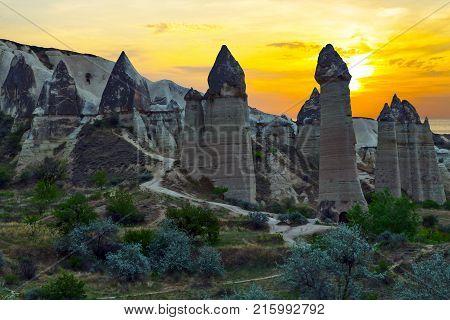 Rising Sun Love Valley Rock Formations, Mountain Landscape In Cappadocia, Turkey