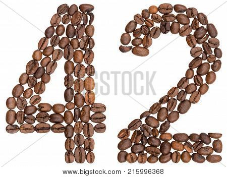 Arabic Numeral 42, Forty Two, From Coffee Beans, Isolated On White Background