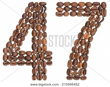 Arabic Numeral 47, Forty Seven, From Coffee Beans, Isolated On White Background