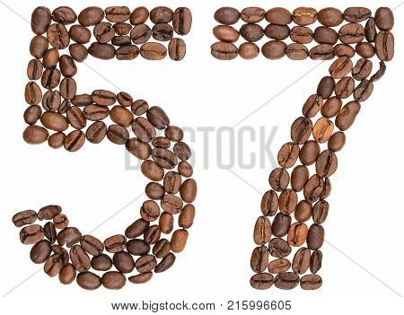 Arabic Numeral 57, Fifty Seven, From Coffee Beans, Isolated On White Background