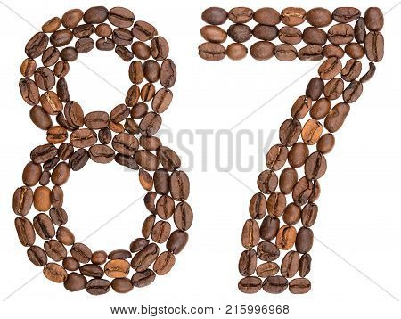 Arabic Numeral 87, Eighty Seven, From Coffee Beans, Isolated On White Background