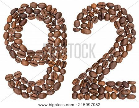 Arabic Numeral 92, Ninety Two, From Coffee Beans, Isolated On White Background