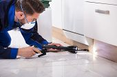 Close-up Of A Pest Control Worker With Torch Spraying Pesticide On Wooden Cabinet poster