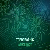 Topographic map colorful abstract background with contour altitude lines poster