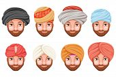 Fashion turban headdress indian arab culture sikh sultan bedouin cute beautiful man head hat isolated icons set cartoon design video chat effects photo portrait vector illustration. poster