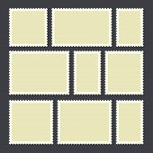 Blank postage stamp.Toothed border mailing postal sticker template in different size. Vector flat style cartoon illustration isolated on dark background poster