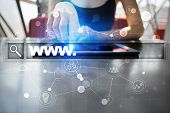 Search bar with www text. Web site, URL. Digital marketing. Business, internet and technology concept. poster