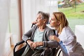 Health visitor and a senior woman during home visit. A nurse talking to an elderly woman in an wheelchair. poster