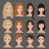 Vector design of beautiful collection of female haircuts. Hairdo. Set of woman hair styling poster