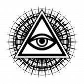 All-Seeing Eye of God (The Eye of Providence | Eye of Omniscience | Luminous Delta | Oculus Dei). Ancient mystical sacral symbol of Illuminati and Freemasonry. poster