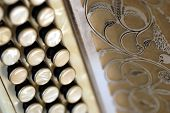 beige diatonic accordion close up of a part poster