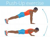 The active afroamerican man in the sportswear is doing the push up exercise. Flat illustration of young strong boy training in push-up. Vector active people set for sport, fitness design, infographic. poster