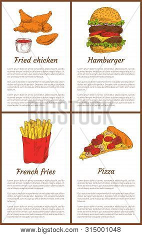 Fried Chicken And French Fries Salty Potatoes Sticks In Package. Posters Set With Pizza And Hamburge