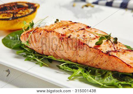 Gourmet Restaurant Grill Fish Menu - Salmon Grill Steak