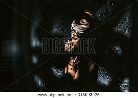 Beautiful Young Stylish Woman Wearing Turban Outdoors Portrait