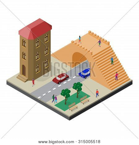 Pedestrian Bridge, Roadway, House, Benches, Trees, Cars And People. Cityscape In Isometric View.