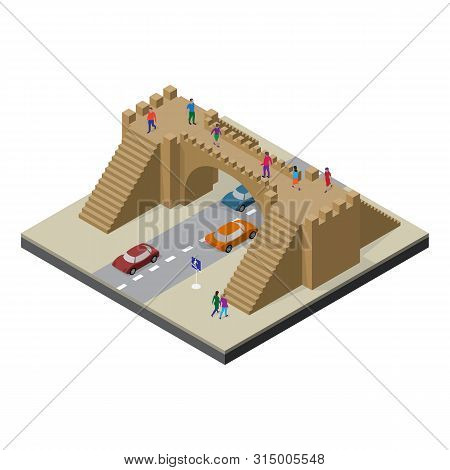 Pedestrian Bridge, Roadway, Cars And People. Cityscape In Isometric View.