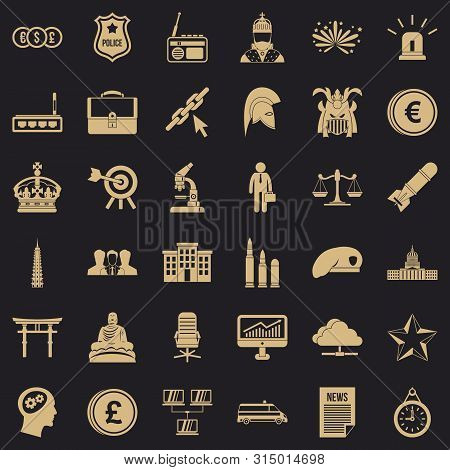 Goverment Icons Set. Simple Style Of 36 Goverment Icons For Web For Any Design