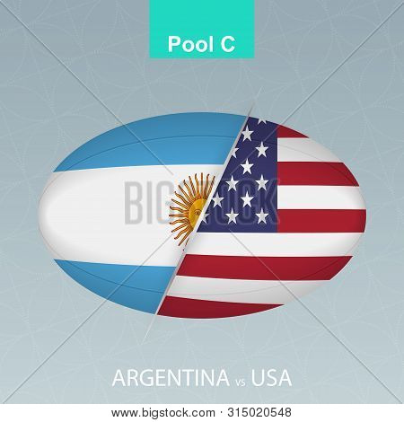 Rugby Competition Argentina Vs Usa. Rugby Icon On Gray Background. Vector Illustration.