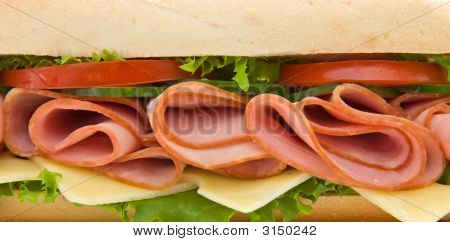 Close Up Of A Ham And Cheese Submarine Sandwich
