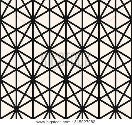 Geometric Triangles Seamless Pattern. Vector Abstract Black And White Graphic Texture. Simple Repeat