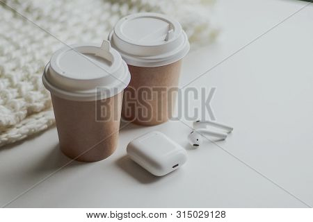 Flat Lay White, Two Glasses For Coffee Or Tea, Wireless Headphones