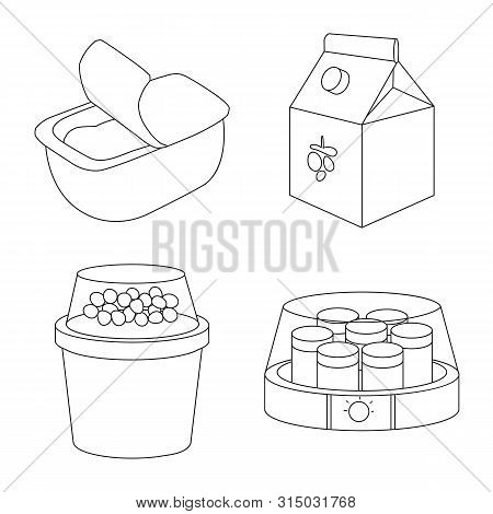 Vector Illustration Of Calcium And Food Symbol. Collection Of Calcium And Product Vector Icon For St