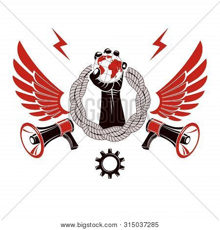 Vector Emblem Composed With Revolutionary Clenched Fist Holding Earth Surrounded By Gear Symbol, Lib