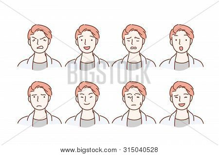 Handsome Guy With Different Facial Expressions. Young Boy Smiling, Happy, Kind, Anger, Sad Face Char