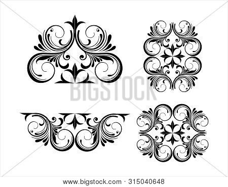 Vintage Engraving Ornament Vector Isolated On Black Background, Border Ornament Pattern Frame, Engra