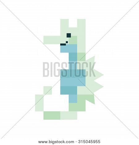 Cute Neo Mint Green 8 Bit Seahorse Vector Illustration. Sealife Pixel Clipart.
