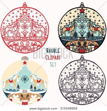 Rocking Horse Toy Christmas Bauble Ornament Set. Isolated Festive Design Element. Hand Draw Winter H
