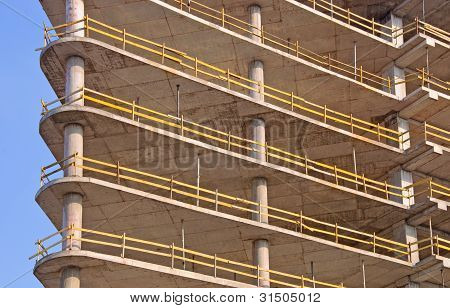 Reinforced Concrete Frame Building Under Construction