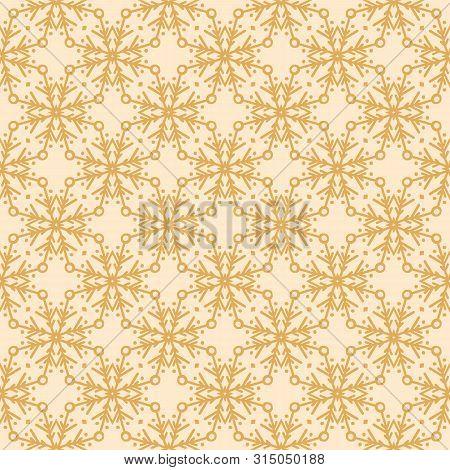 Hand Drawn Abstract Winter Snowflakes Pattern. Stylish Crystal Stars On Gold Background. Elegant Sim