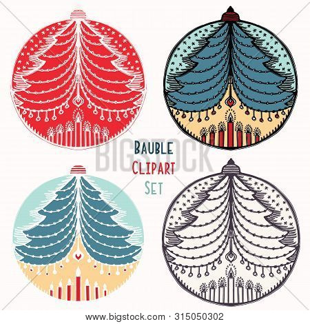 Christmas Tree Candles Bauble Ornament Set. Isolated Festive Design Element. Hand Draw Winter Holida
