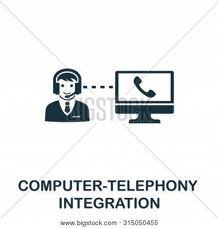 Computer-telephony Integration Icon Symbol. Creative Sign From Icons Collection. Filled Flat Compute