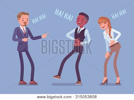 Business People Joking, Laughing. Businessmen And Businesswoman Being In A Good Mood, Enjoy Funny Of
