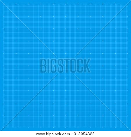 Blueprint Background Grid. Blue Paper Graph Metric Pattern. Blueprint Drawing Texture