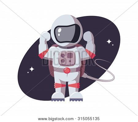Astronaut Tensed His Muscles In His Arms. Space Character Gestures Force In Open Space. Spaceman In