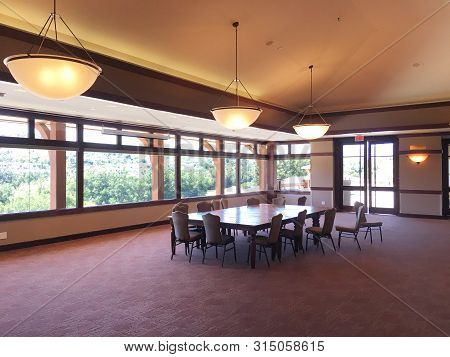 Coto De Caza, California - July 20, 2019: Banquet Or Meeting Room Inside The Clubhouse At The Coto D