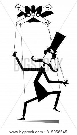 Puppet Men Concept Illustration. Long Mustache Man In The Top Hat Is Controlled By Cords Like Puppet