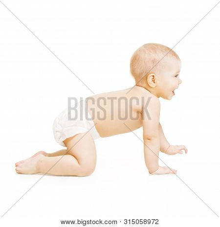 Crawling Baby, Infant Kid Crawl On White Background, Happy Three Months Old Child
