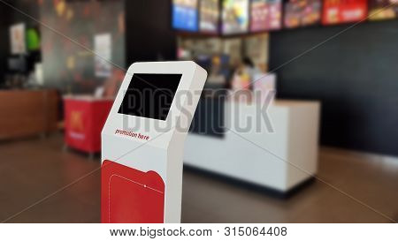 Information Terminal With Touch Screen Of Self-ordering Kiosks In Restaurant.