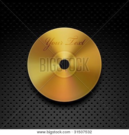 Vector Golden CD Disc on a Chrome Background