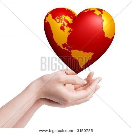 Mundo de corazón en las manos