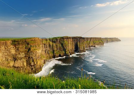 World Famous Cliffs Of Moher, One Of The Most Popular Tourist Destinations In Ireland. Widely Known
