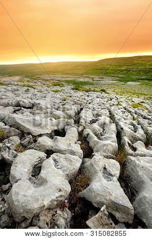Spectacular Landscape Of The Burren Region Of County Clare, Ireland. Exposed Karst Limestone Bedrock