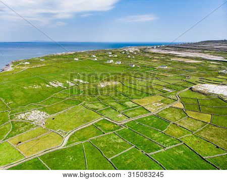 Aerial View Of Inishmore Or Inis Mor, The Largest Of The Aran Islands In Galway Bay, Ireland. Famous